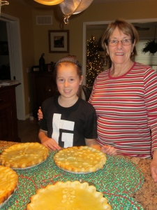 Grandma and I are proud of our pies!